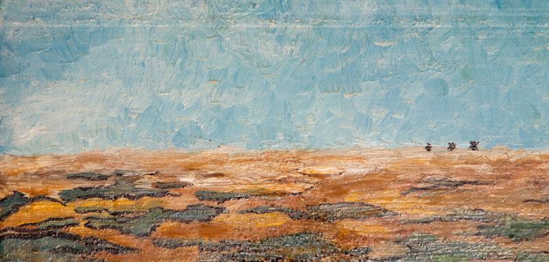 olja på trä, 94 x 14 cm. Hela målningen syns inte på bilden. Pris: 4000.-